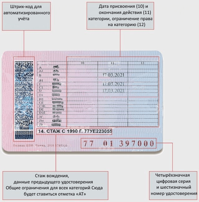 Лицевая сторона водительских прав